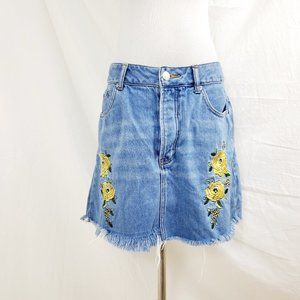 Forever 21 Jean Mini Skirt Floral Embroidered 30